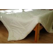 Стеганое одеяло из овечьей шерсти, плотность стандарт, чехол из сатина, молочное, размер 200*220