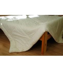 Стеганое одеяло из овечьей шерсти, плотность стандарт, чехол из сатина, молочное, размер 170*205