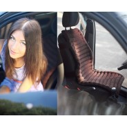 Накидка на автомобильное кресло - черная, вельвет, валики
