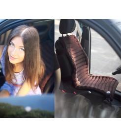 Накидка на автомобильное кресло  - коричневая, вельвет, валики